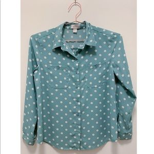 Blue Polka Dot LOFT Button Down Shirt